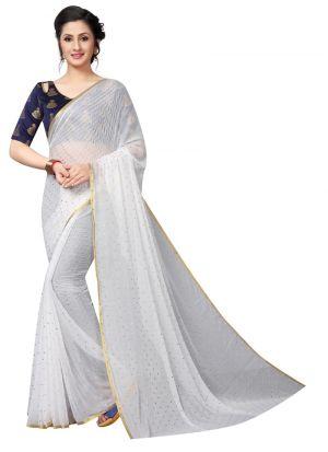 White Chiffon Indian Saree