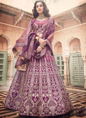 Wine Art Silk Designer Lehenga Choli For Sangeet