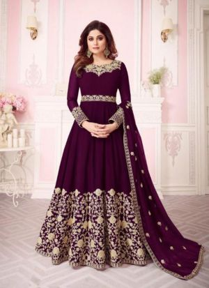 Wine Georgette Embroidered Floor Length Anarkali Suit