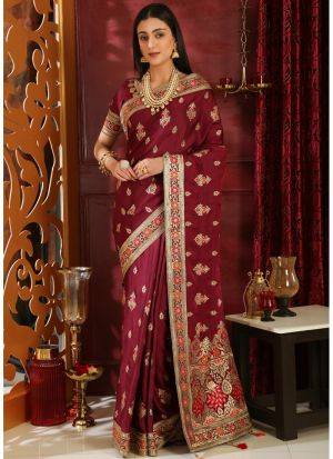 Wine Traditional Silk Saree With Embroidered