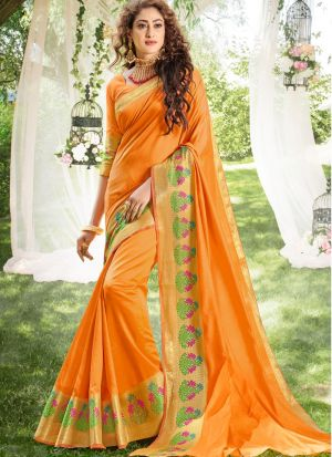 Woman Attractive Orange Khadi Silk Saree