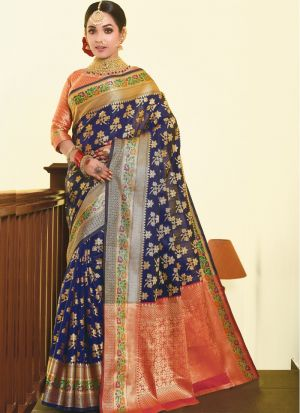 Women'S New Fancy Designer Blue Silk Saree