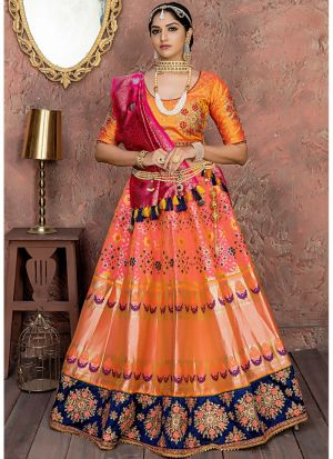 Wonderfull Starfish Orange Banarsi Silk Traditional Lehenga Choli