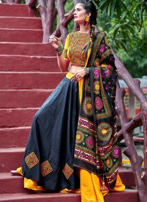Yellow And Black Color Gujarati Chaniya Choli Navratri
