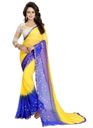 Yellow And Blue Chiffon Indian Bandhani Saree