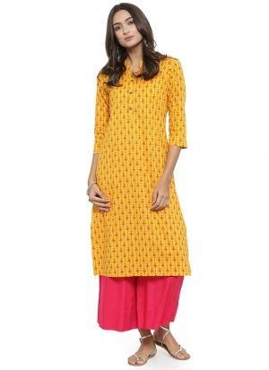 Yellow Cambric Designer Kurti