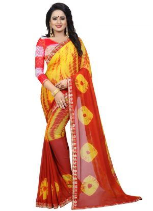 Yellow Chiffon Daily Use Saree
