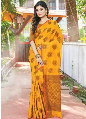 Yellow Color South Indian Cotton Handloom Designer Saree