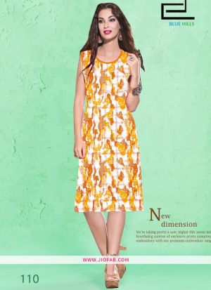 Yellow Cotton Fabric Stitched Summer Kurta Collection