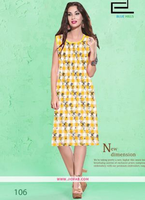 Yellow Cotton Fabric Stitched Summer Kurti Collection