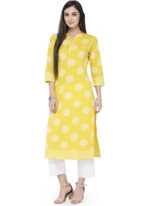 Yellow Cotton Latest Designer Kurti Collection