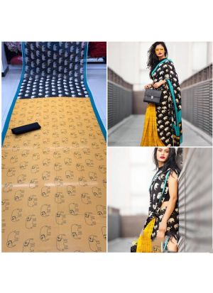 Yellow Digital Printed Weightless 60 Gm Party Wear Saree