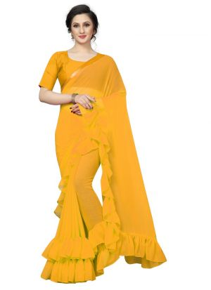 Yellow Georgette Solid Indian Designer Ruffle Saree