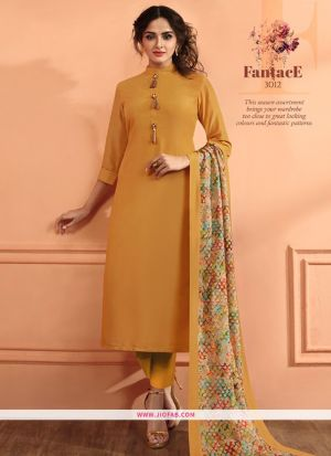 Yellow Maslin Plain Designer Salwar Suit
