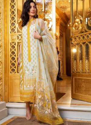 Yellow Net Embroidered Staraight Pakistani Salwar Kameez