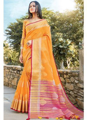 Yellow South Indian Linen Cotton Designer Saree