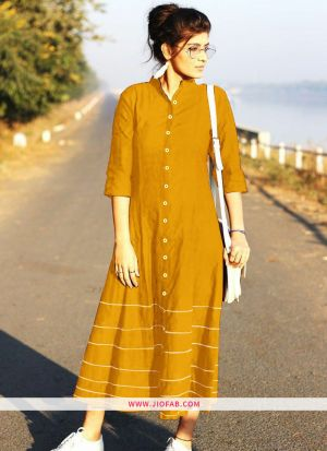 Yellow Summer Highway Slub Cotton Heavy Quality Kurti