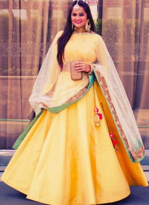 Yellow Taffeta Silk Beautiful Lehenga Choli