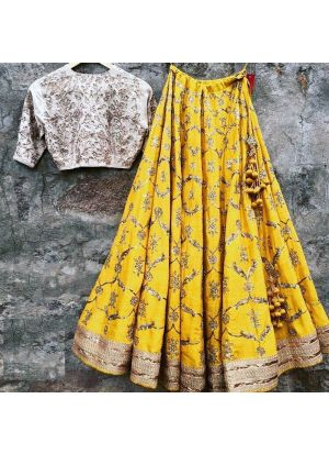 Yellow Taffeta Silk Latest Hit Design Lehenga Choli