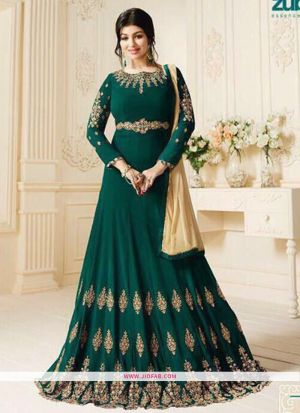 Zubeda 602 Green 60 Gm Georgette Traditional Anarkali Salwar Suit