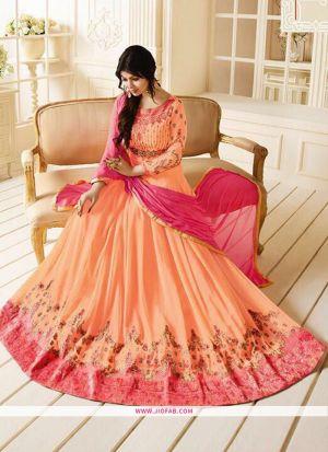 Zubeda Posh Collection Orange Embroidery Designer Floor Length Salwar Suit
