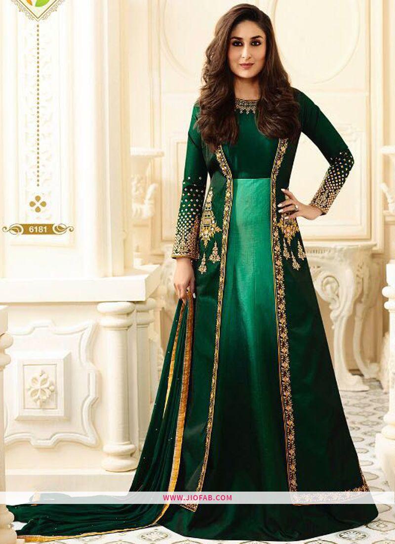 Online Purchase 6181 Dark Green Georgette Latest Designer Anarkali