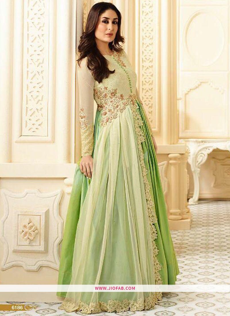 081e3ee4ac Buy 6186 Parrot Georgette Designer Anarkali Salwar Suit For Weddings Online