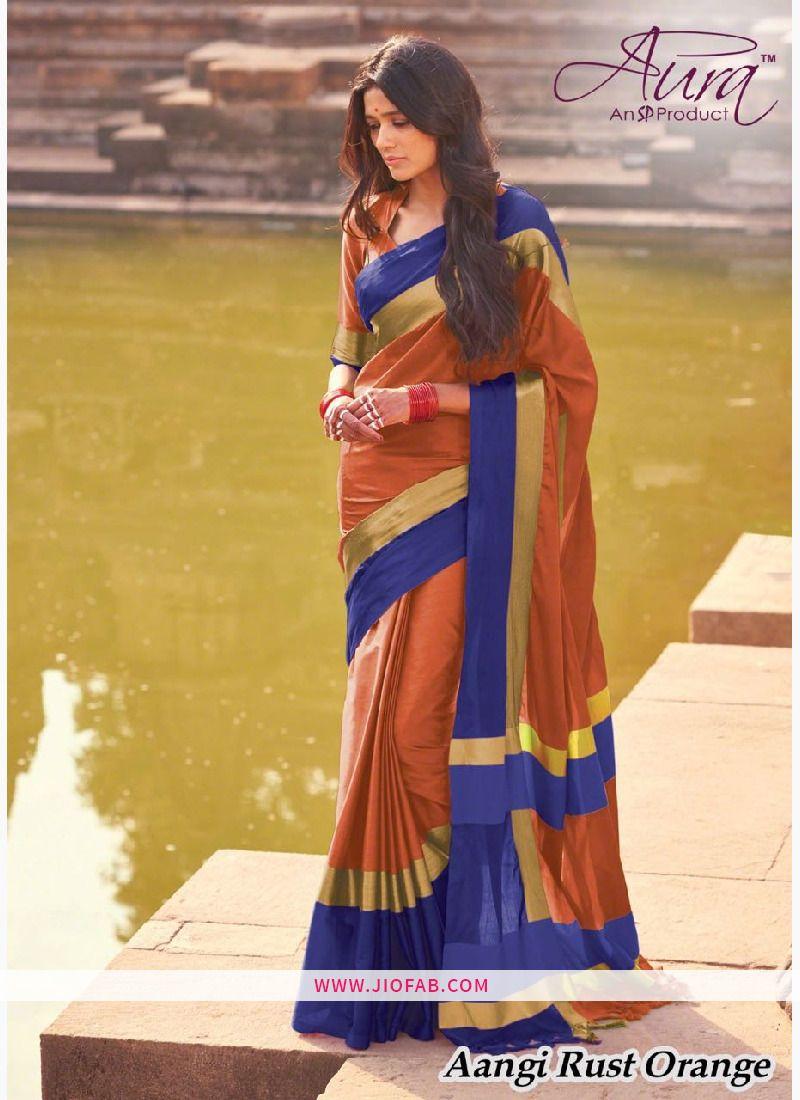 c973d54b19 Buy Online Aura Aangi Rust Orange Pure Cotton Silk Saree - Angi 18 - Aura