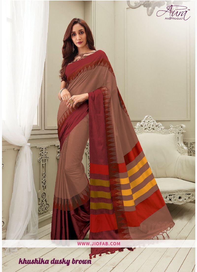 e638efd04 Buy Aura Khushika Dusky Brown Pure Silk Cotton Saree Online - Khushika 9 -  Aura