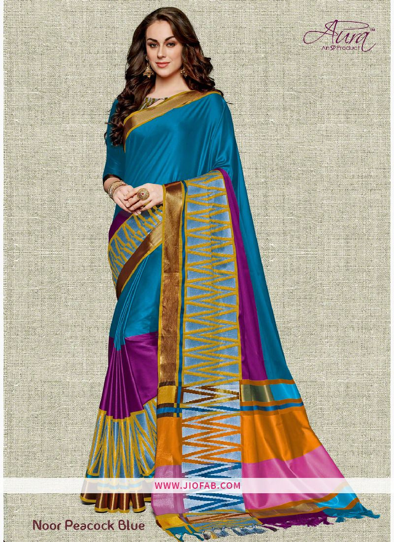 e0e62556e30f76 Buy Aura Noor Peacock Blue Pure Cotton Silk Saree Online - Noor 9 - Aura