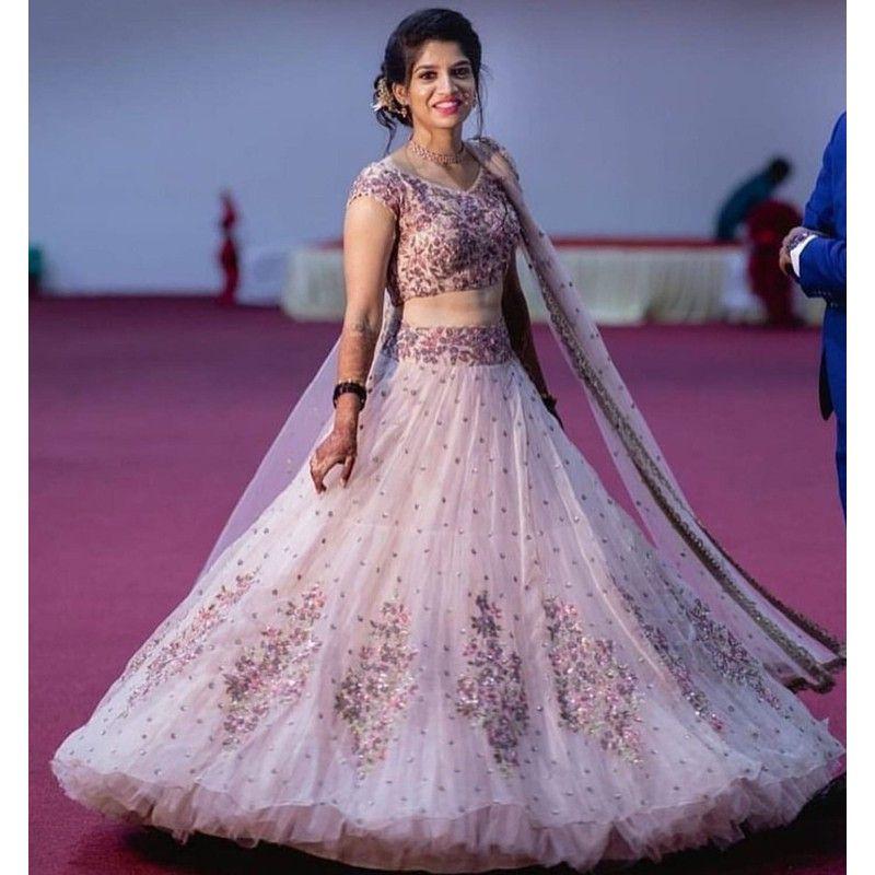 Shop Baby Pink Butterfly Mono Net New Launch Party Wear Lehenga Choli Online
