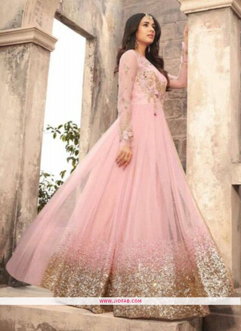 fbff9e70b5 Maisha 5203 | Shop Online Baby Pink Designer Long Anarkali Salwar Suit With  Heavy Net
