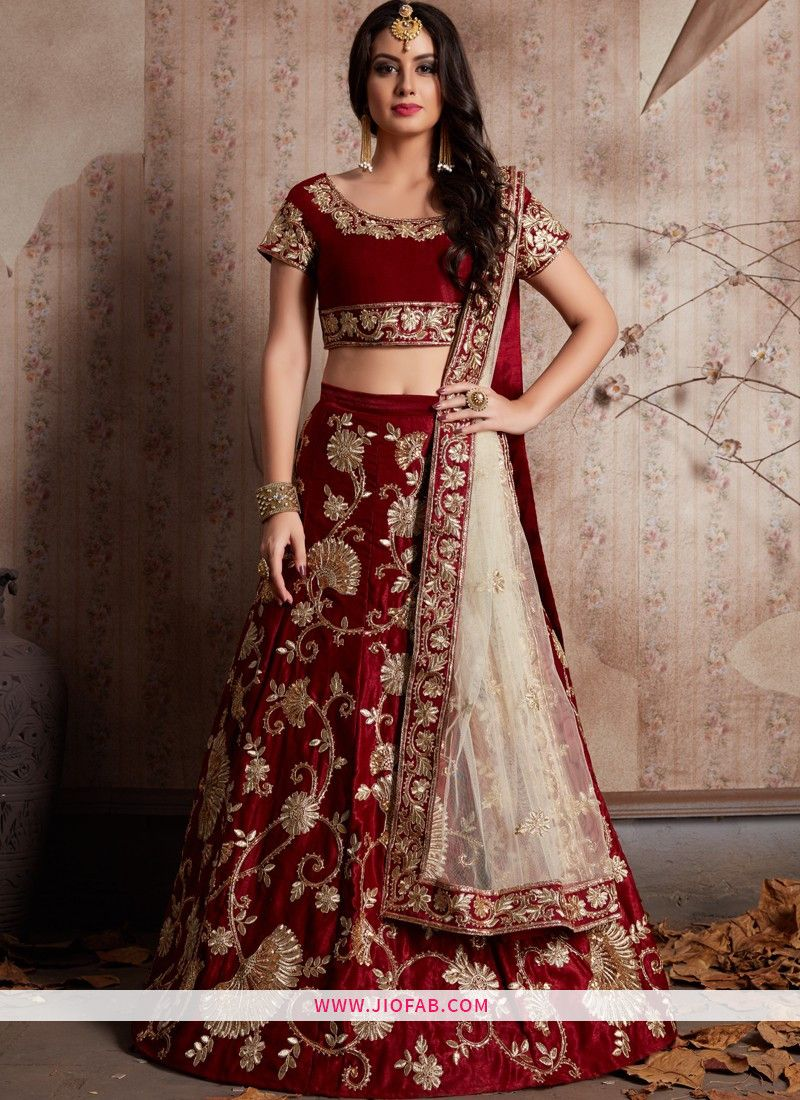 6c0311491df352 Buy Beautiful Maroon Embroidered Velvet Silk Festival Lehenga Choli