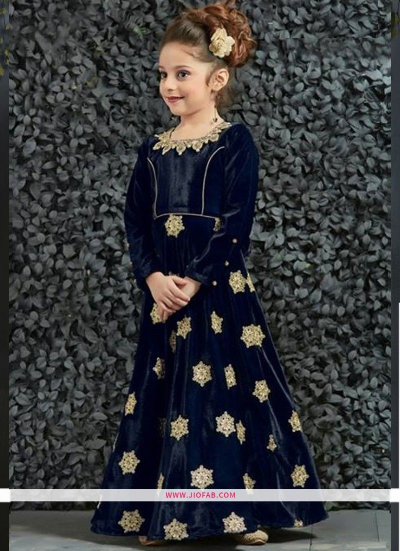 Online Purchase Beautiful Navy Color Indian wedding Gown For Little Girl