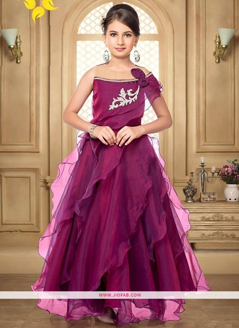 Online Purchase Beautiful Wine Color Indian wedding Gown For Little Girl