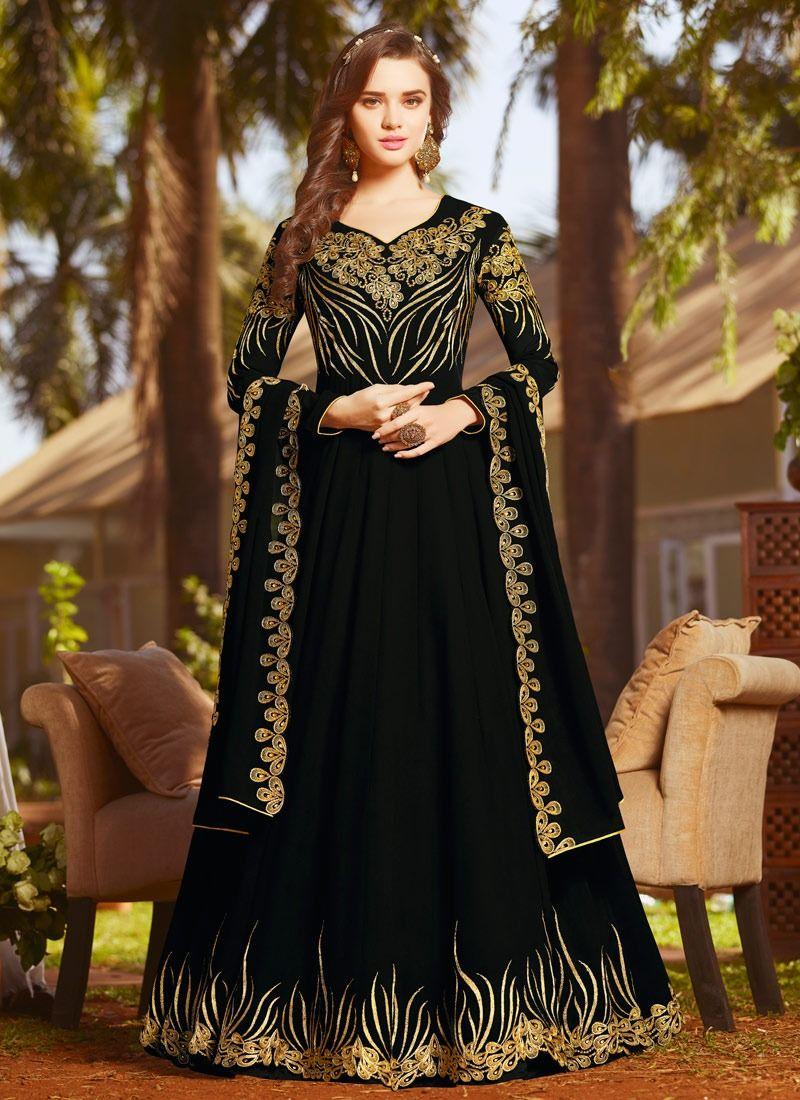8ea64f2b12 Buy Black Georgette Abaya Style Anarkali Salwar Suit Rama Fashions Raazi8  Online
