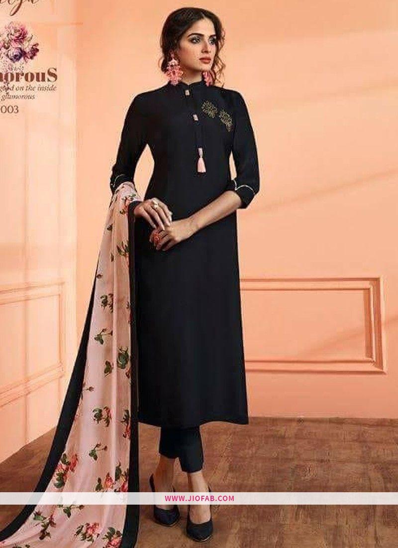 d2f67582c Buy Black Maslin Plain Designer Salwar Suit Online