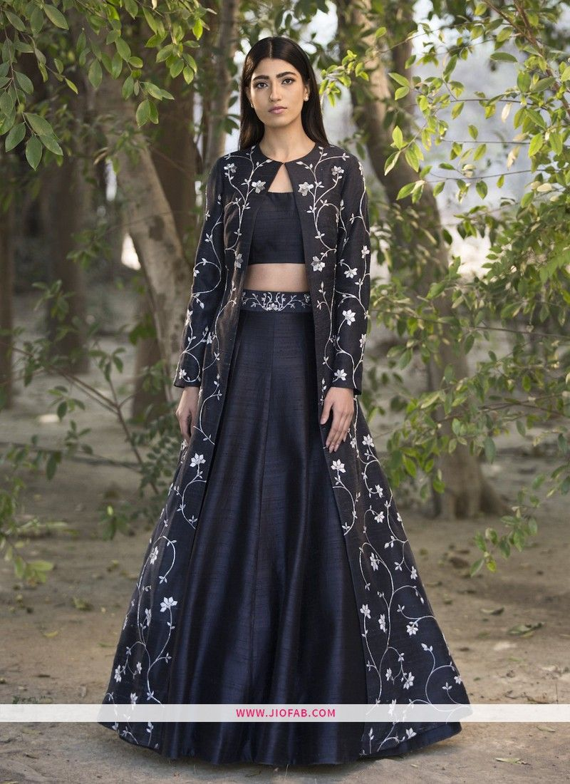 620eb0b4d0 Buy Online Black Party Wear Designer Lehenga Choli With Banglori Silk Koti