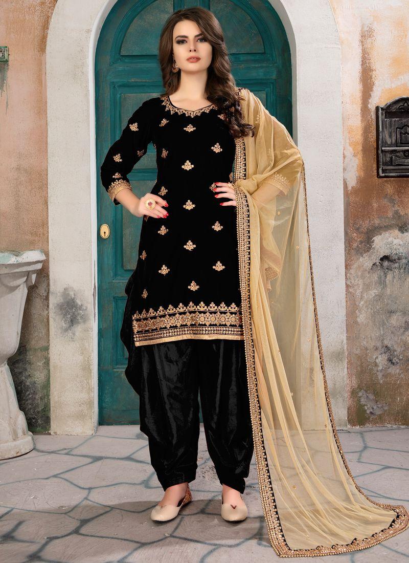 Shop Online Black Velvet Embroidered Designer Aanaya Latest Style Punjabi Suit