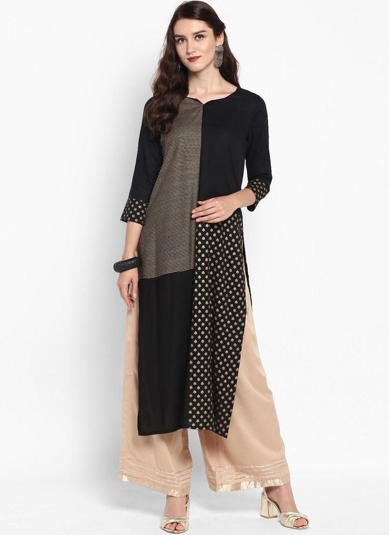 27f527dcd6 Online Purchase Black Viscose Rayon Latest Designer Kurti Collection