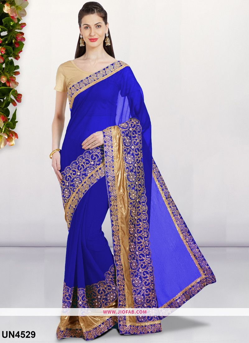 3740dd44cfccd8 Buy Blue Embroidered Stone And Lace Border Lycra Silk Designer Saree Online