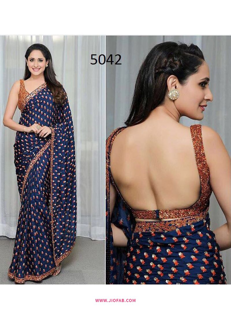 67cd733424b31c Buy Blue Hot Backless Pragya Jaiswal Bollywood Actress Designer Saree  Online India