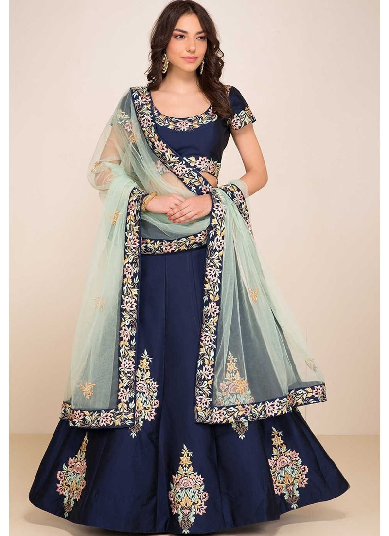 4960d207b0 Shop Blue Resham Embroidery Heavy Bridal Lehenga Choli With Taffeta Silk  Fabric Online