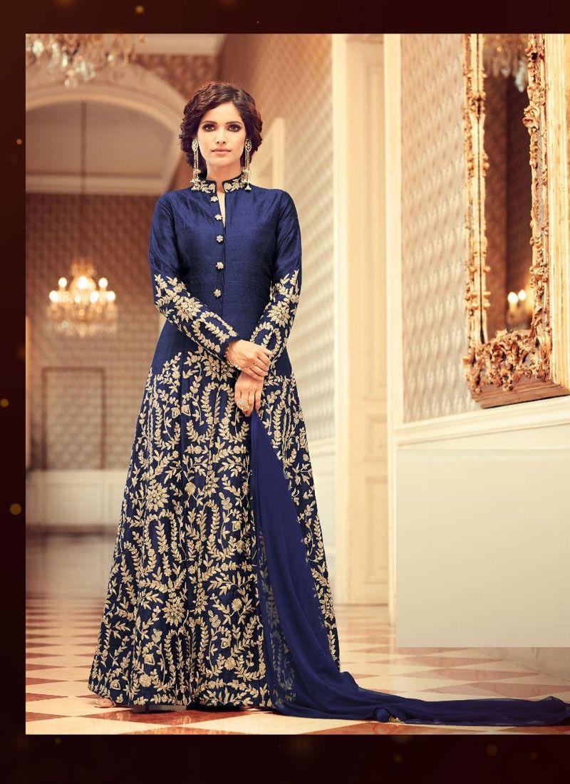 3dab6bf0df Shop Blue Silk Pant Style Salwar Suit Mohini Fashion Online