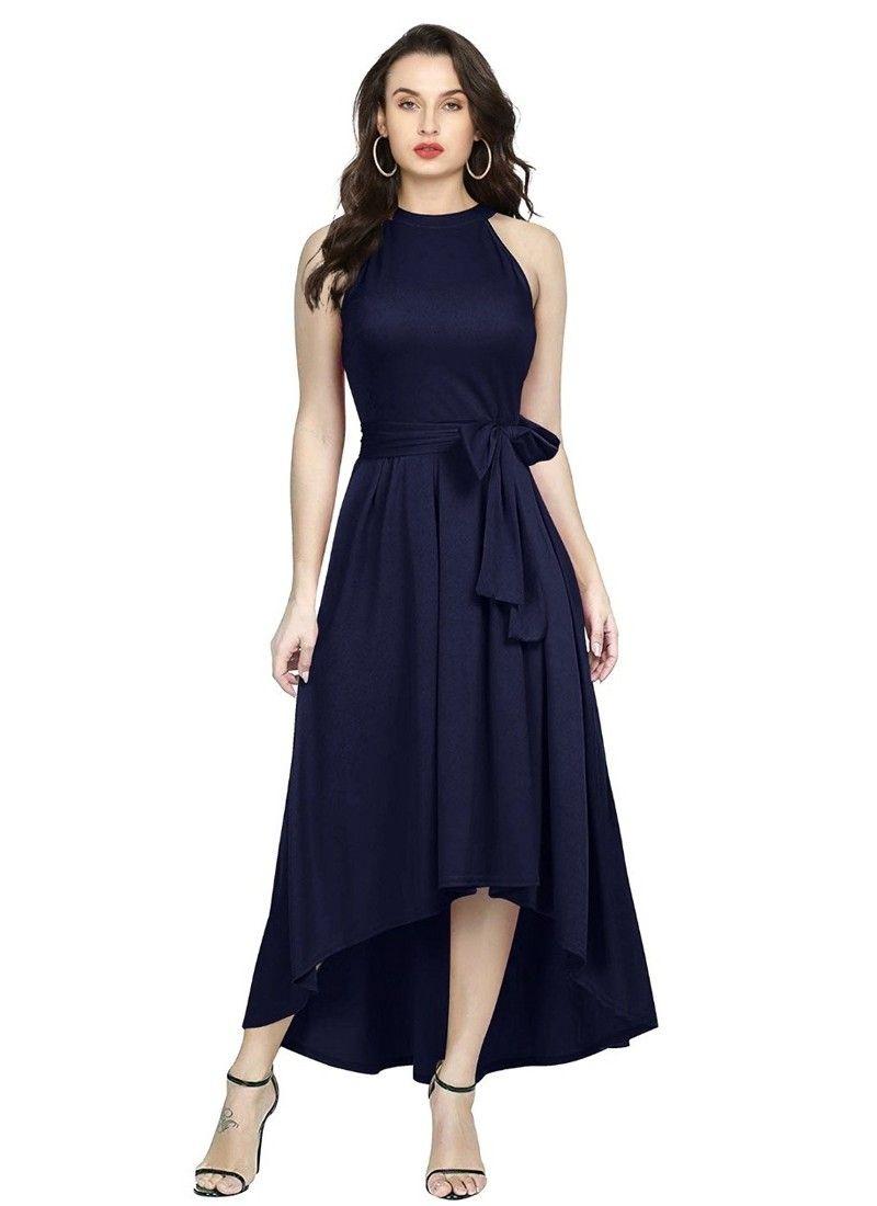 Blue Women And Girls Sleeveless Western Gown