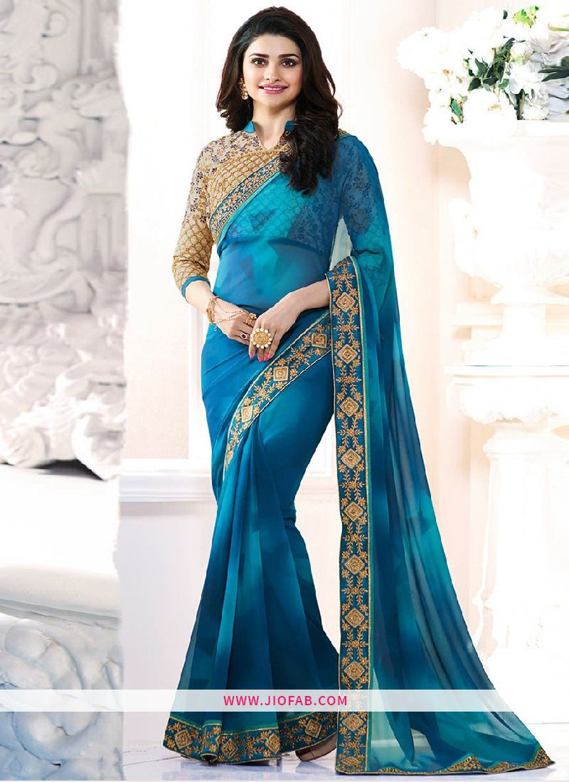 Shop Online Bollywood Prachi Desai Actress Sky Blue Embroidered ...