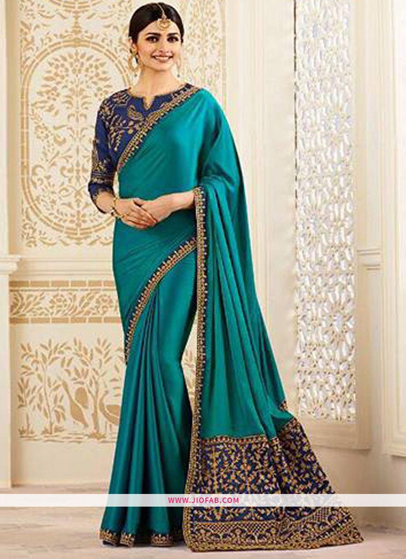 be3ec84917068e Online Purchase Bollywood Prachi Desai Sparkle Silk Classic Designer Saree  In Dark Green Color
