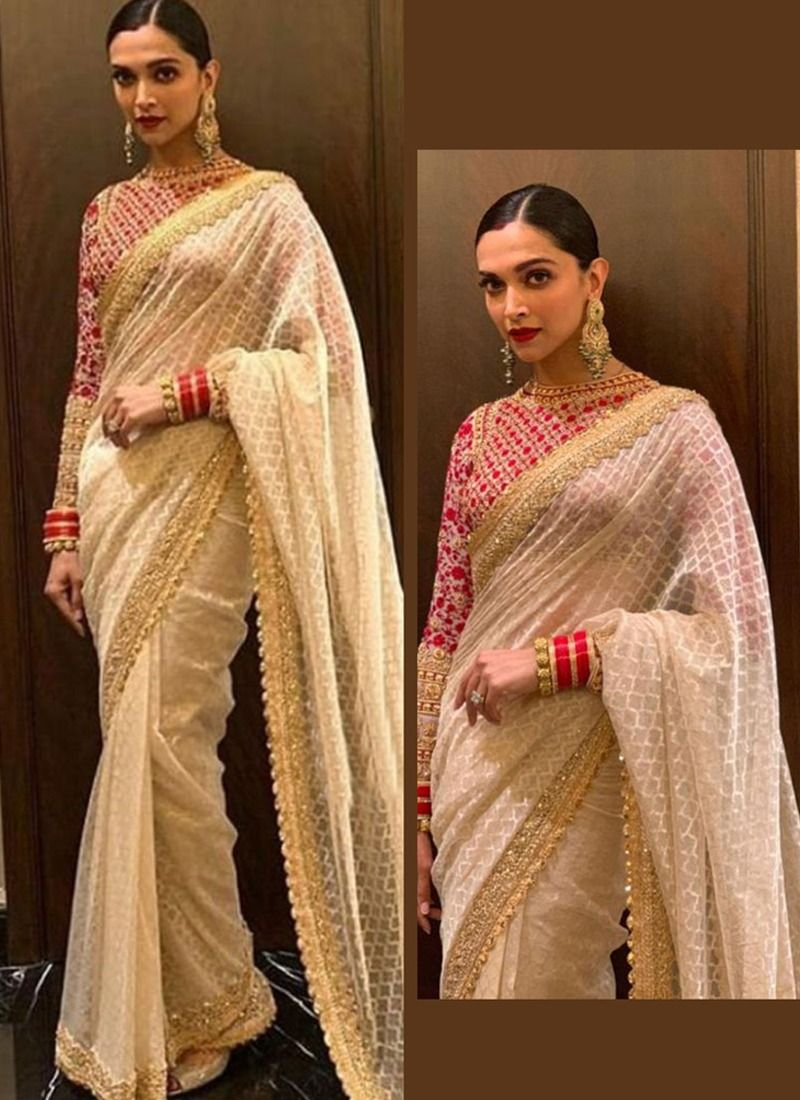 0f48d5790cf Buy Online Bollywood Style Deepika Padukone White Color Georgette Saree