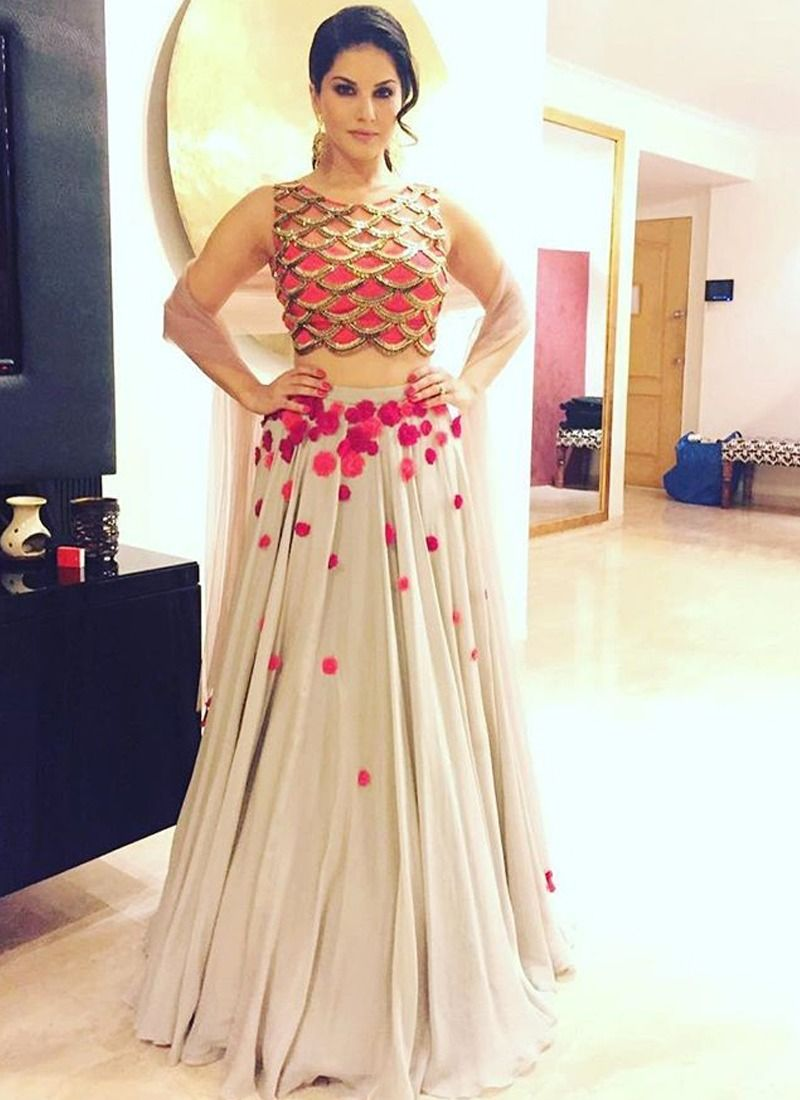 d6b9102034 AB-53 | Online Purchase Bollywood Sunny Leone Hand Work Zari Georgette  Party Wear Lehenga Choli In Off White Colour
