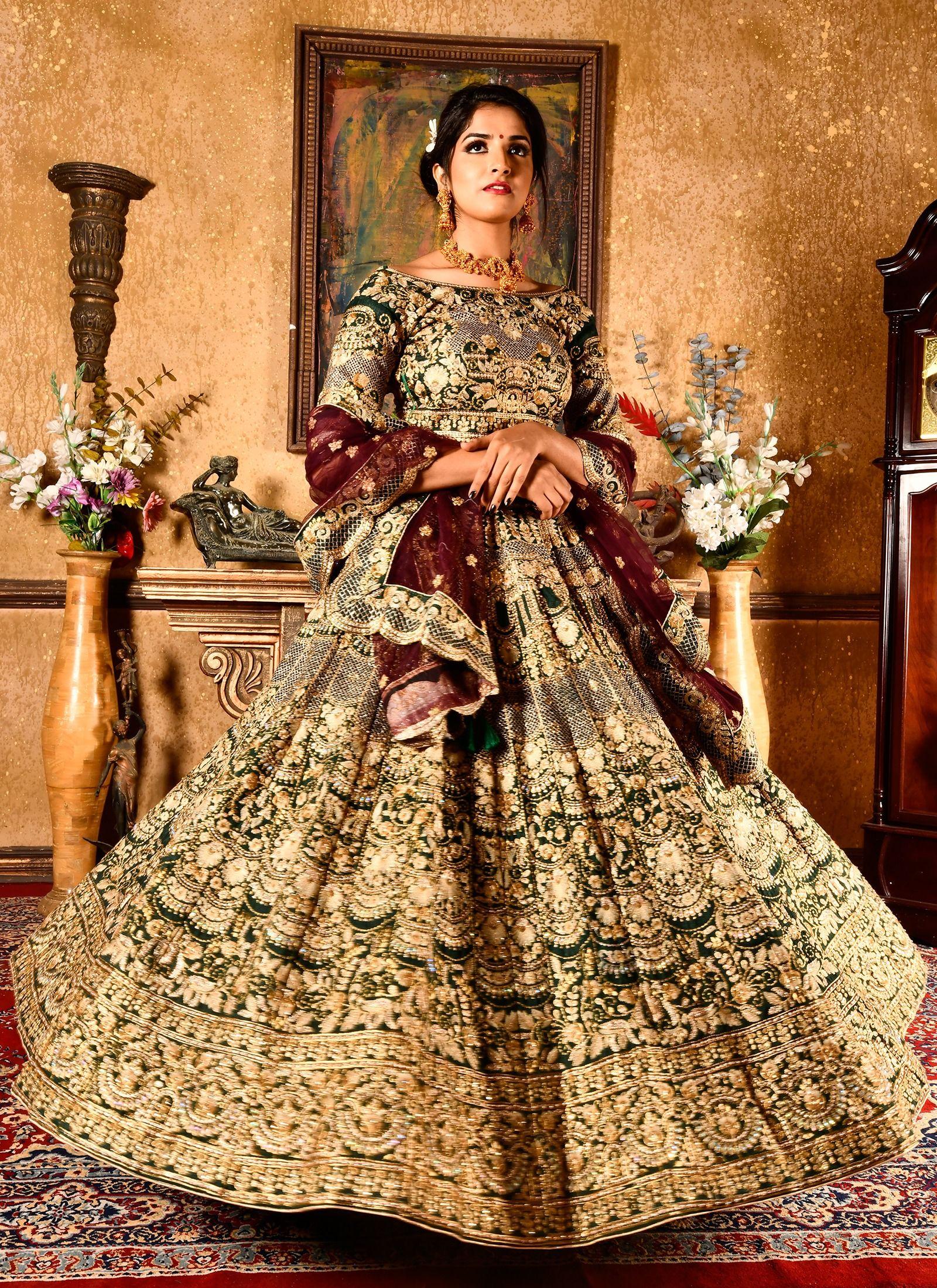 Buy Online Botal Green Chennai Silk Wedding Bridal Lehenga ...